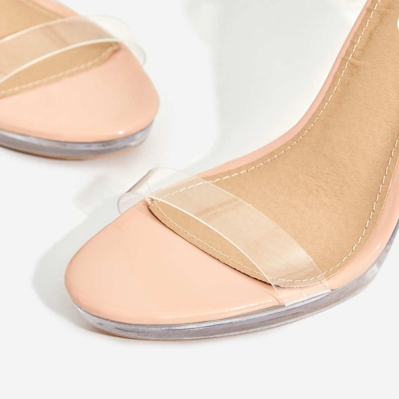 Icy Platform Barely There Perspex Thin Block Clear Heel In Nude Patent Image 5