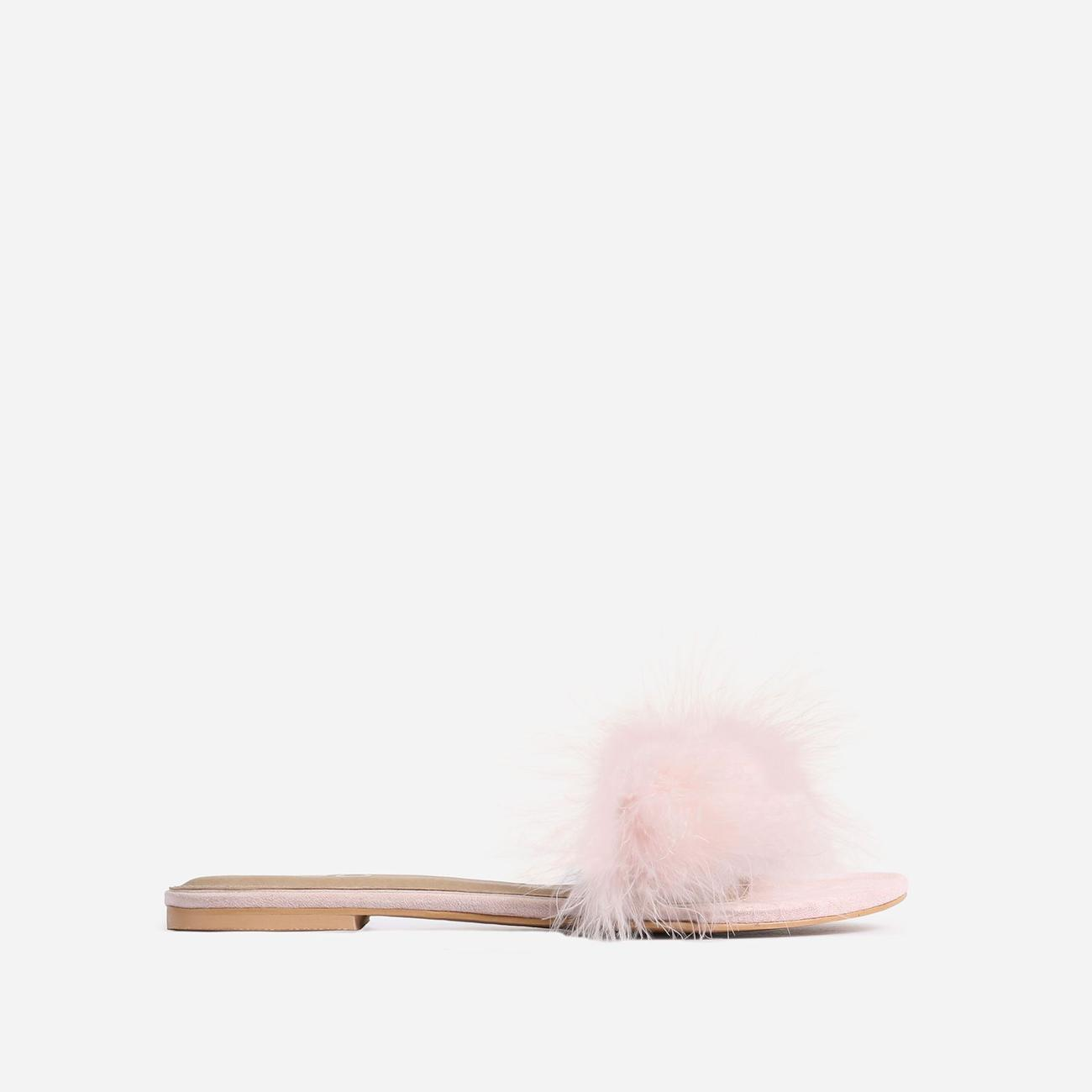 Bestfriend Faux Feather Detail Flat Slider Sandal In Pink Faux Suede Image 1