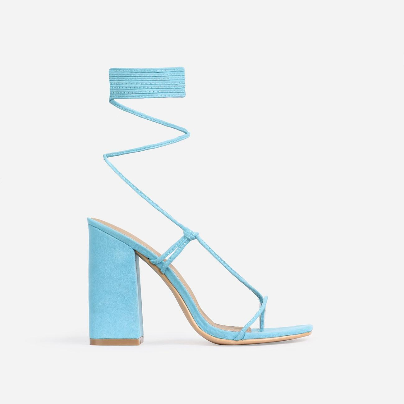 Honey Square Toe Lace Up Block Heel In Blue Faux Suede Image 1