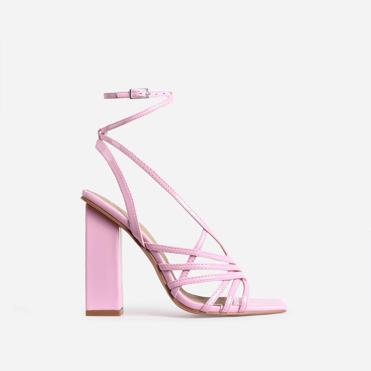 Dancer Square Toe Strappy Block Heel In Pink Patent Image 1
