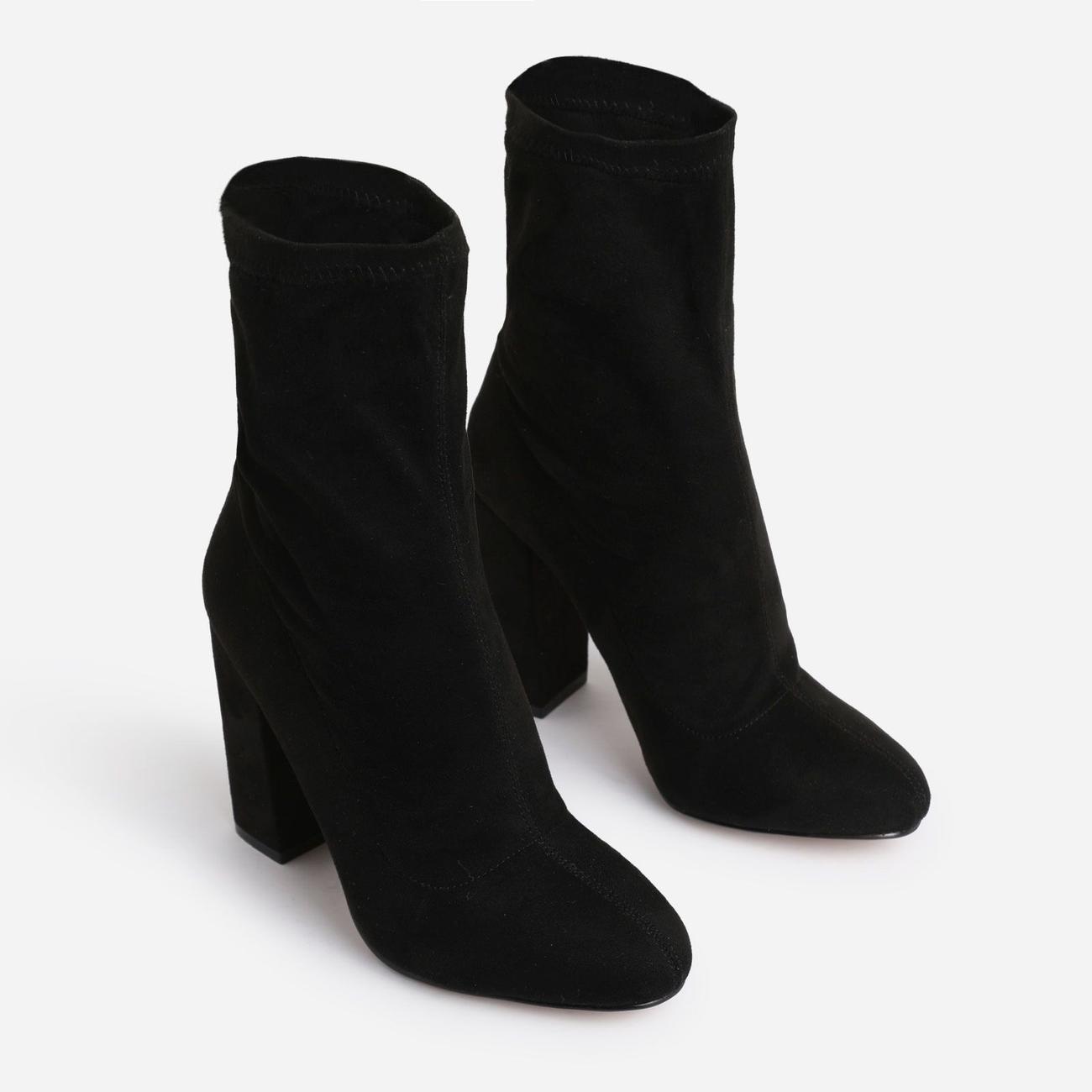 Hayden Block Heel Sock Boot In Black Faux Suede Image 2