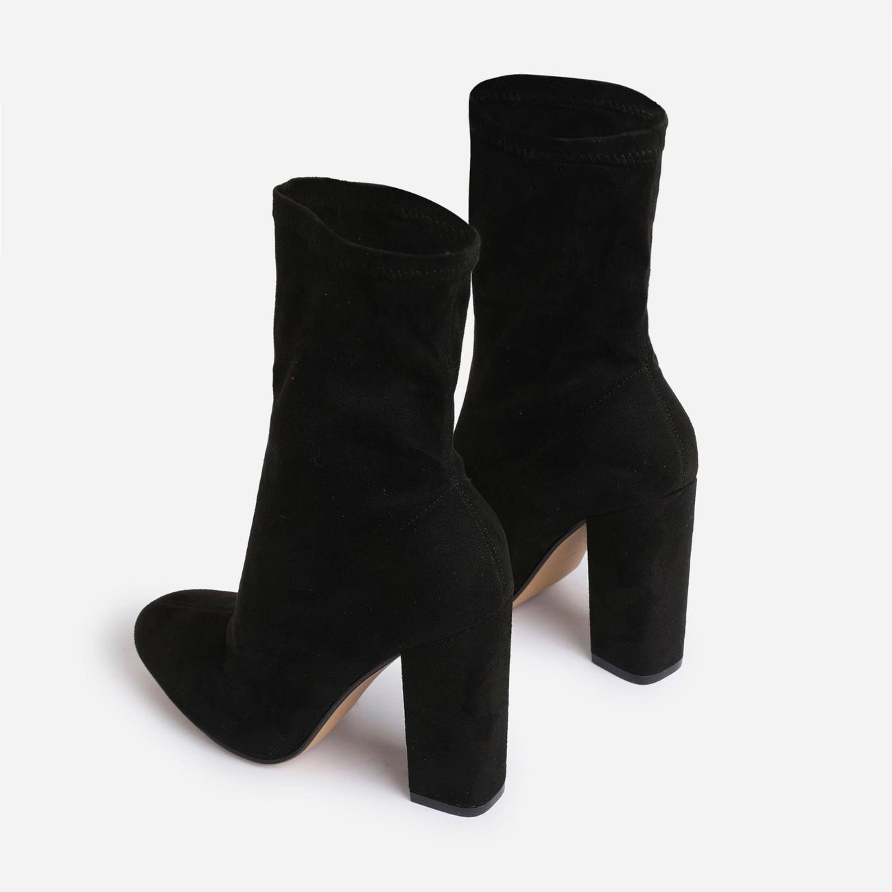 Hayden Block Heel Sock Boot In Black Faux Suede Image 3