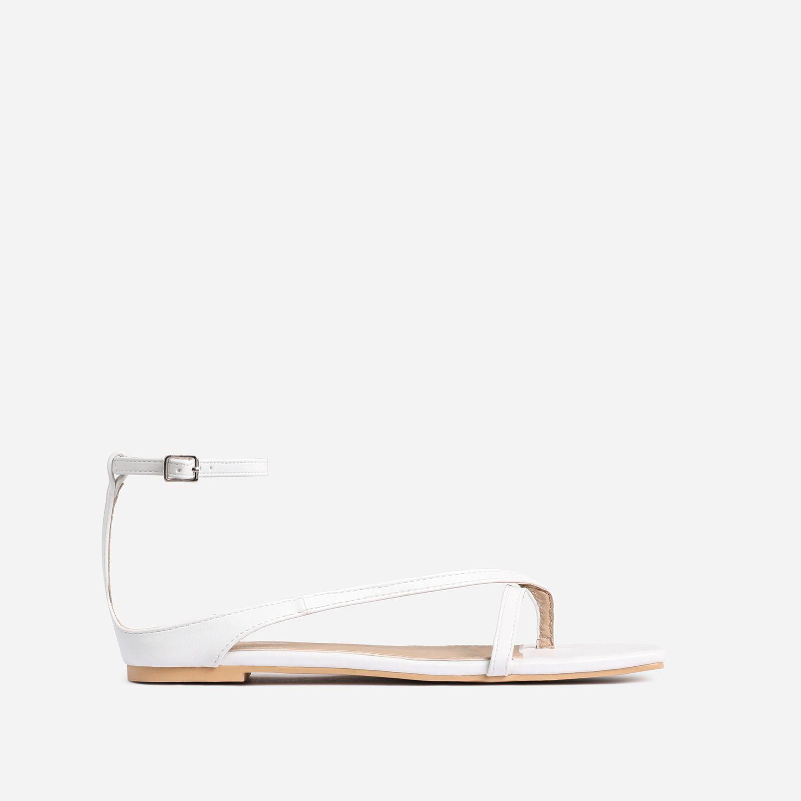 Hollywood White Strappy Square Toe