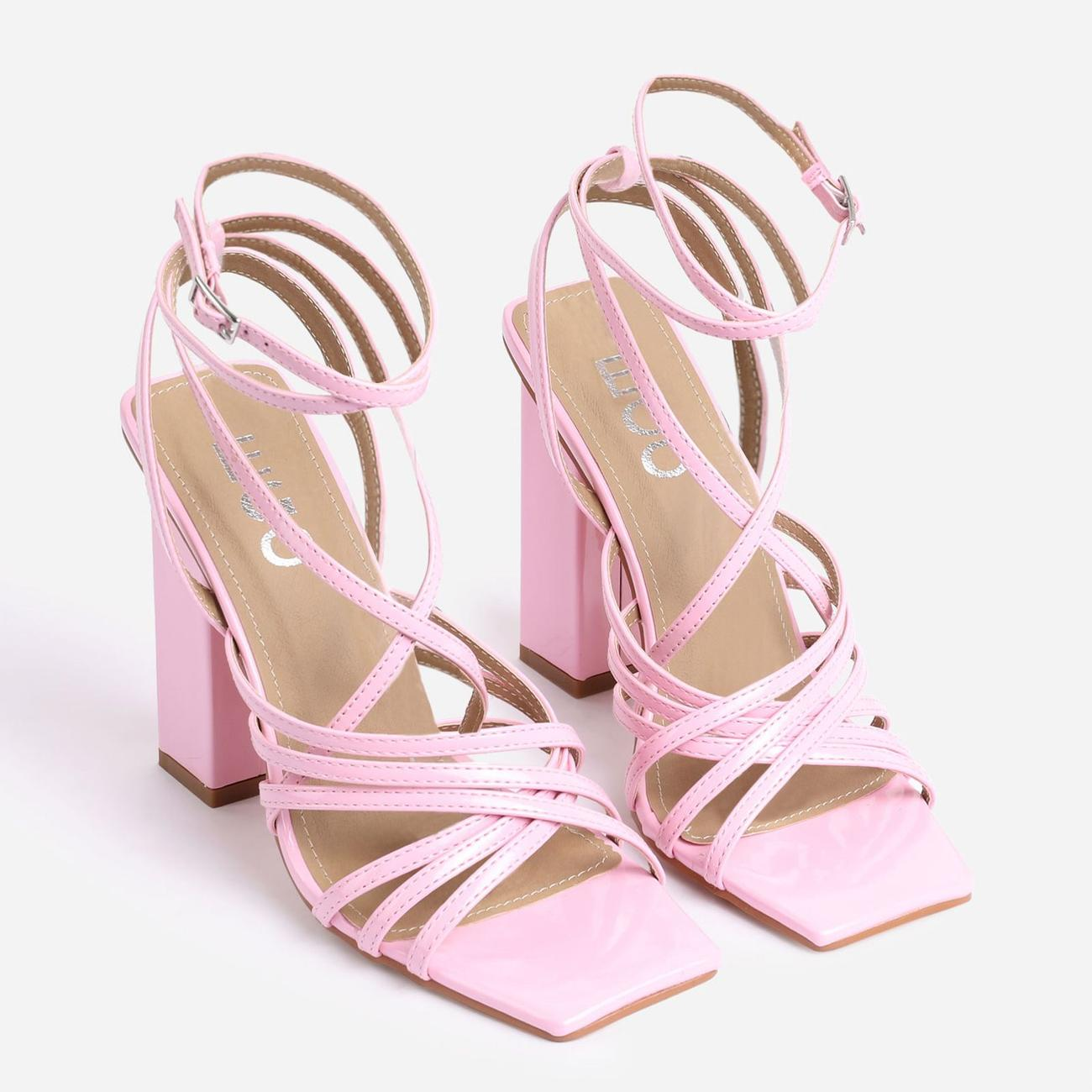 Dancer Square Toe Strappy Block Heel In Pink Patent Image 2