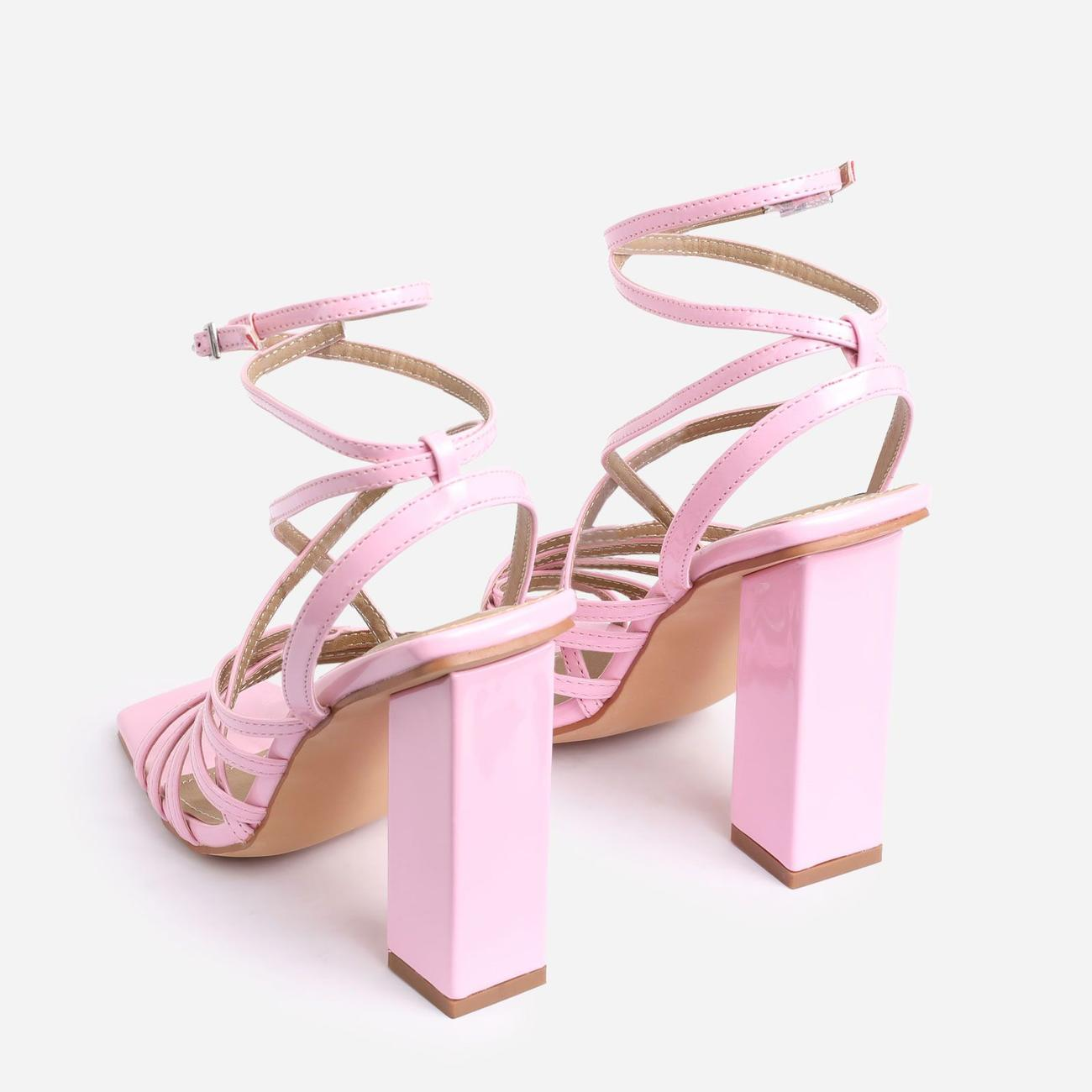 Dancer Square Toe Strappy Block Heel In Pink Patent Image 3