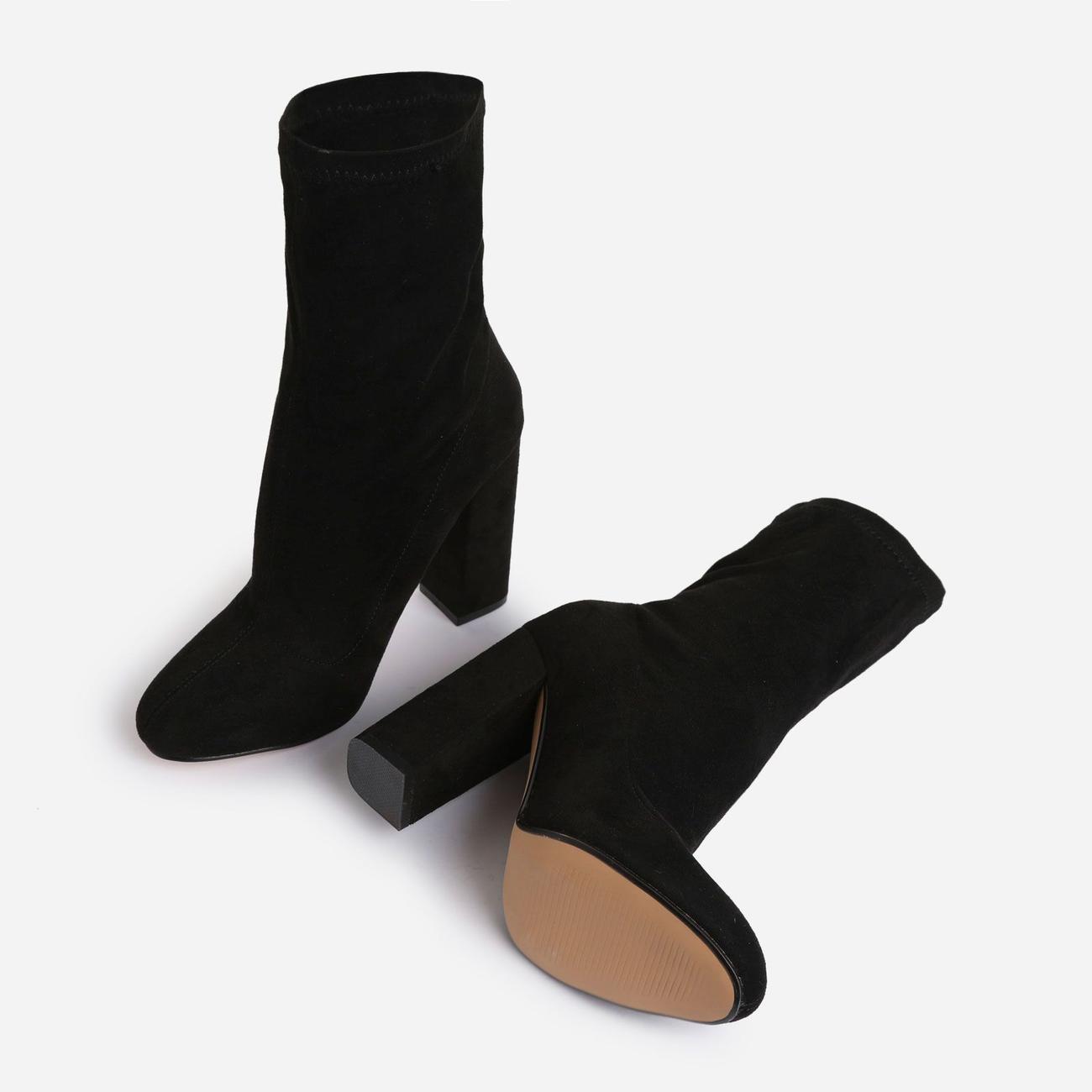 Hayden Block Heel Sock Boot In Black Faux Suede Image 4