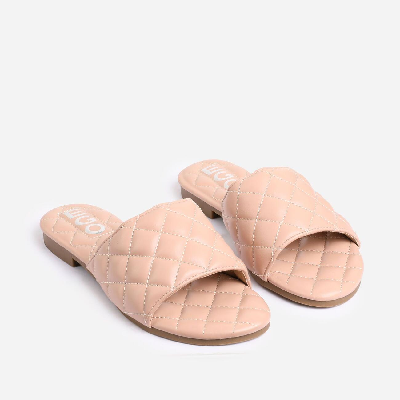 Rider Quilted Flat Slider Sandal In Nude Faux Leather Image 2