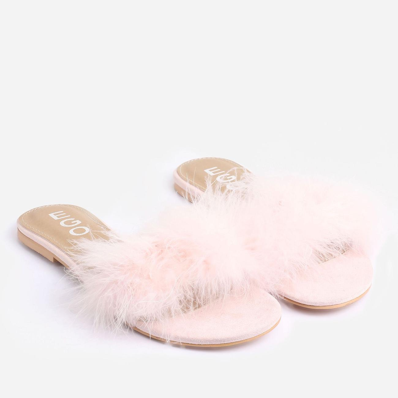 Bestfriend Faux Feather Detail Flat Slider Sandal In Pink Faux Suede Image 2