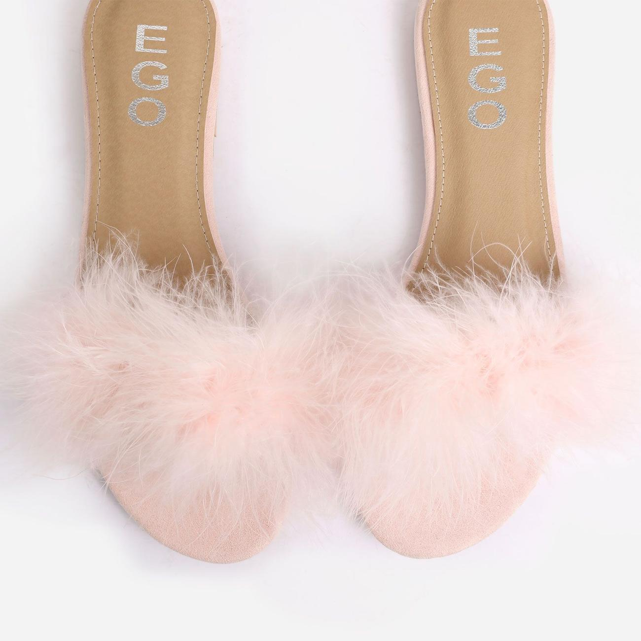 Bestfriend Faux Feather Detail Flat Slider Sandal In Pink Faux Suede Image 4