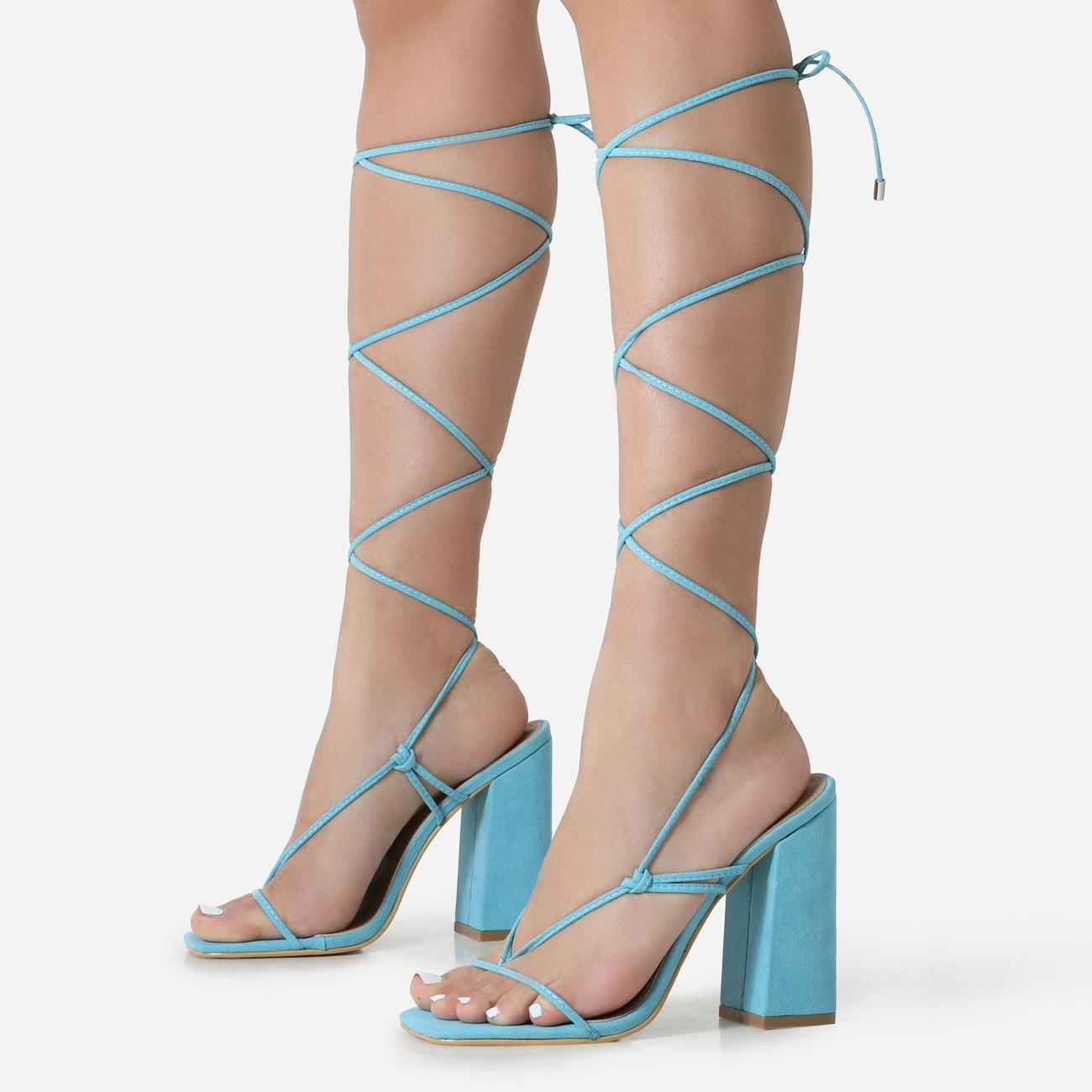 Honey Square Toe Lace Up Block Heel In Blue Faux Suede Image 2
