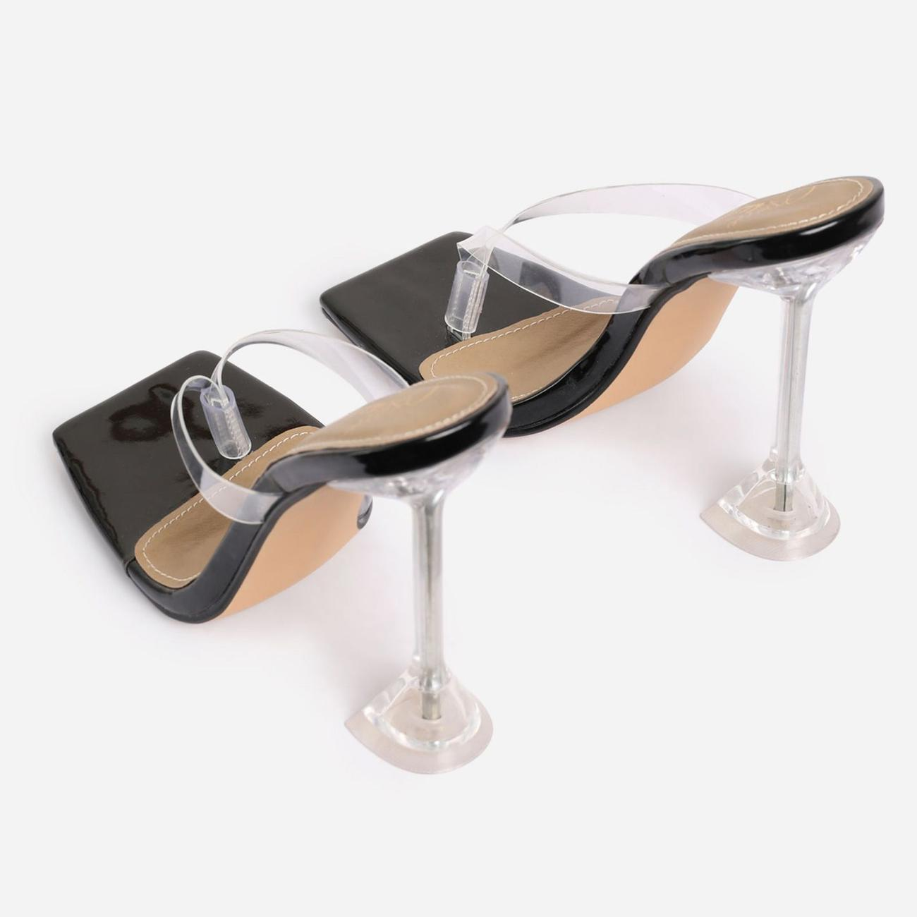 Jalen Square Toe Thong Clear Perspex Pyramid Heel Mule In Black Patent Image 3