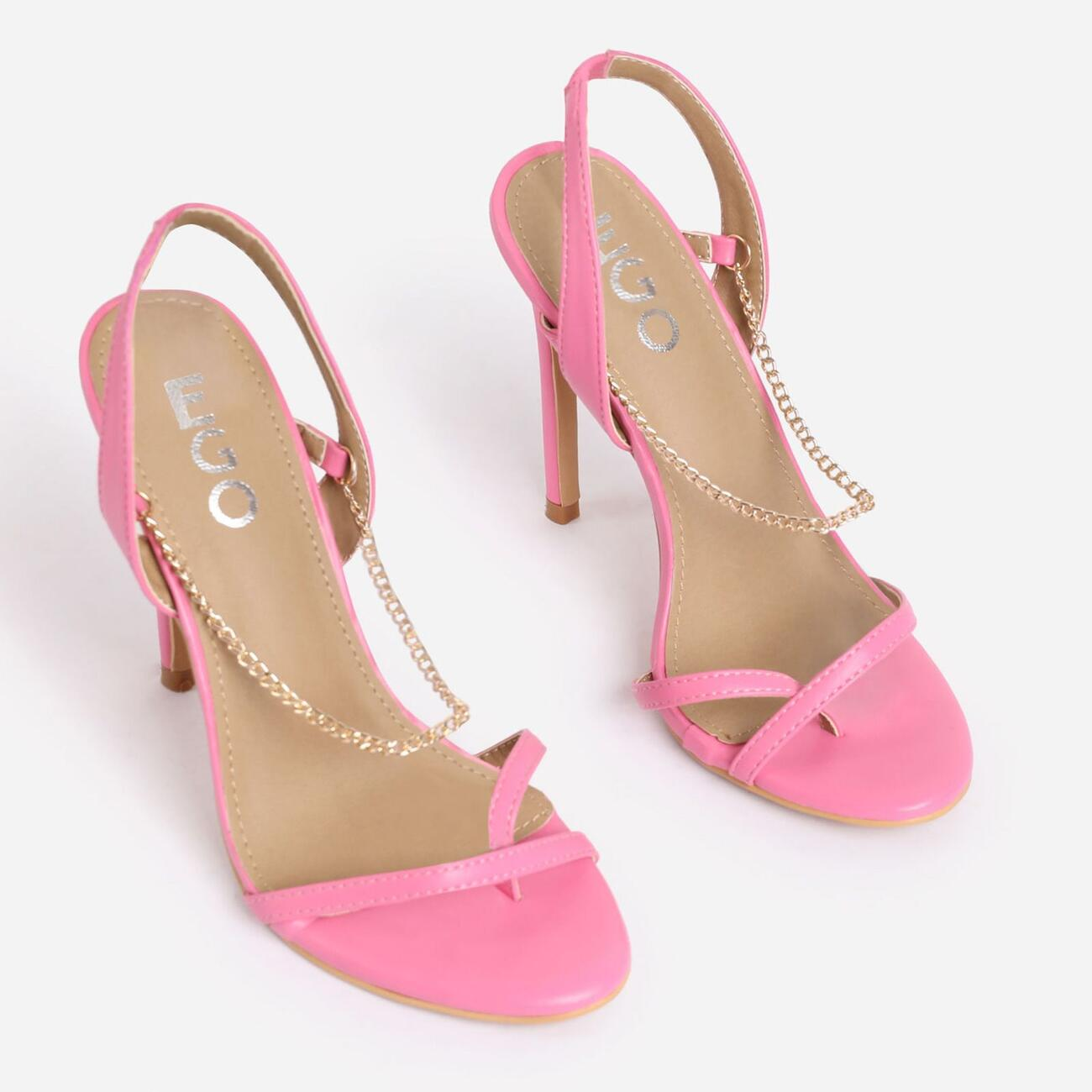 Peachy Chain Detail Sling Back Heel In Pink Faux Leather Image 2