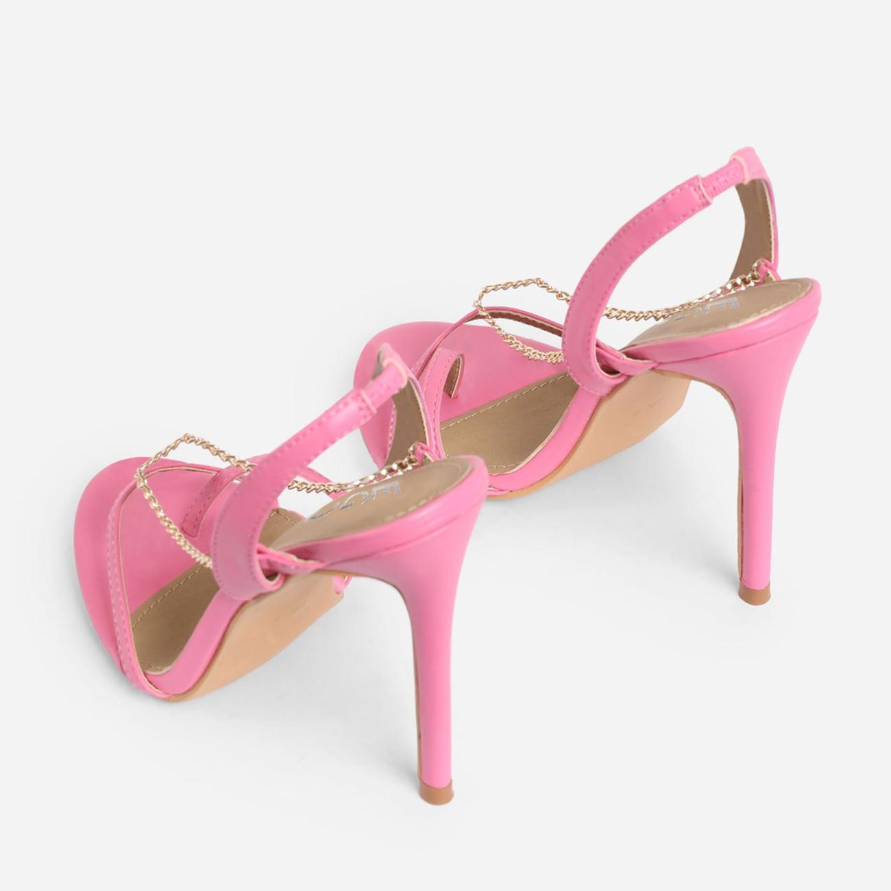 Peachy Chain Detail Sling Back Heel In Pink Faux Leather Image 3