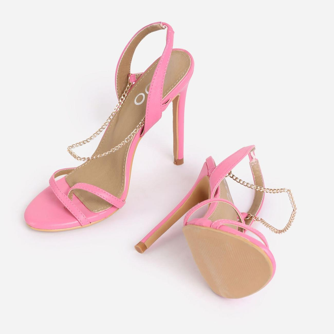Peachy Chain Detail Sling Back Heel In Pink Faux Leather Image 4