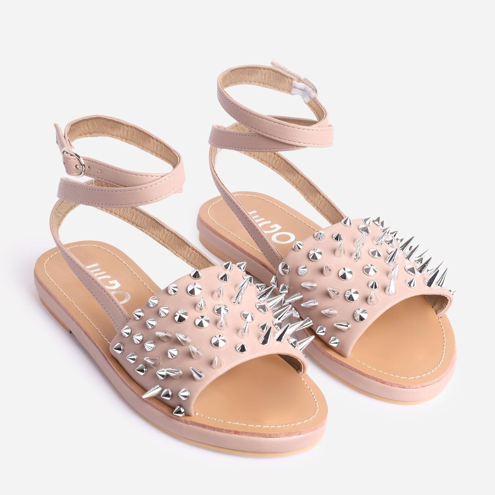 Hipster Studded Detail Flat Gladiator Sandal In Nude Faux Leather Image 2
