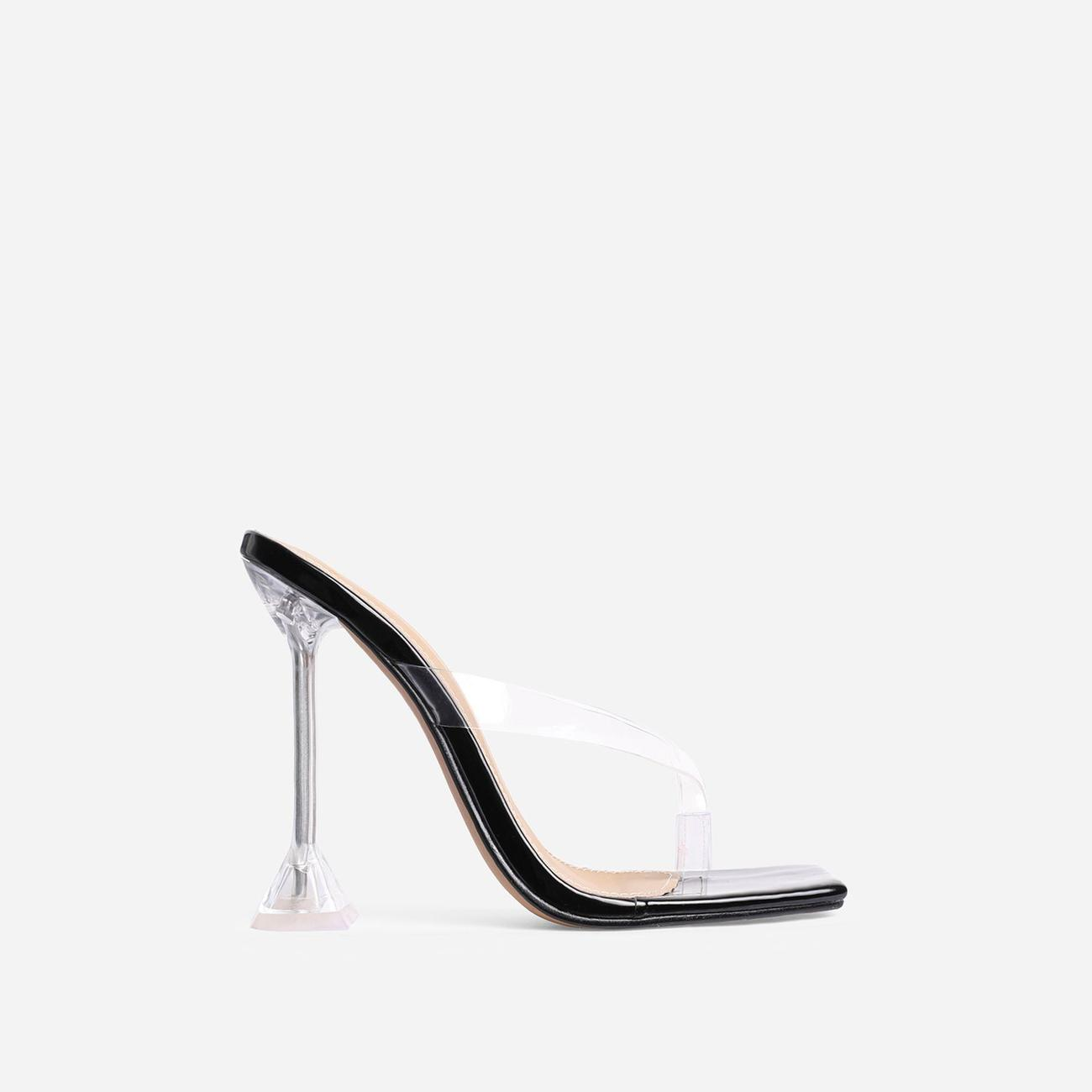 Jalen Square Toe Thong Clear Perspex Pyramid Heel Mule In Black Patent Image 1