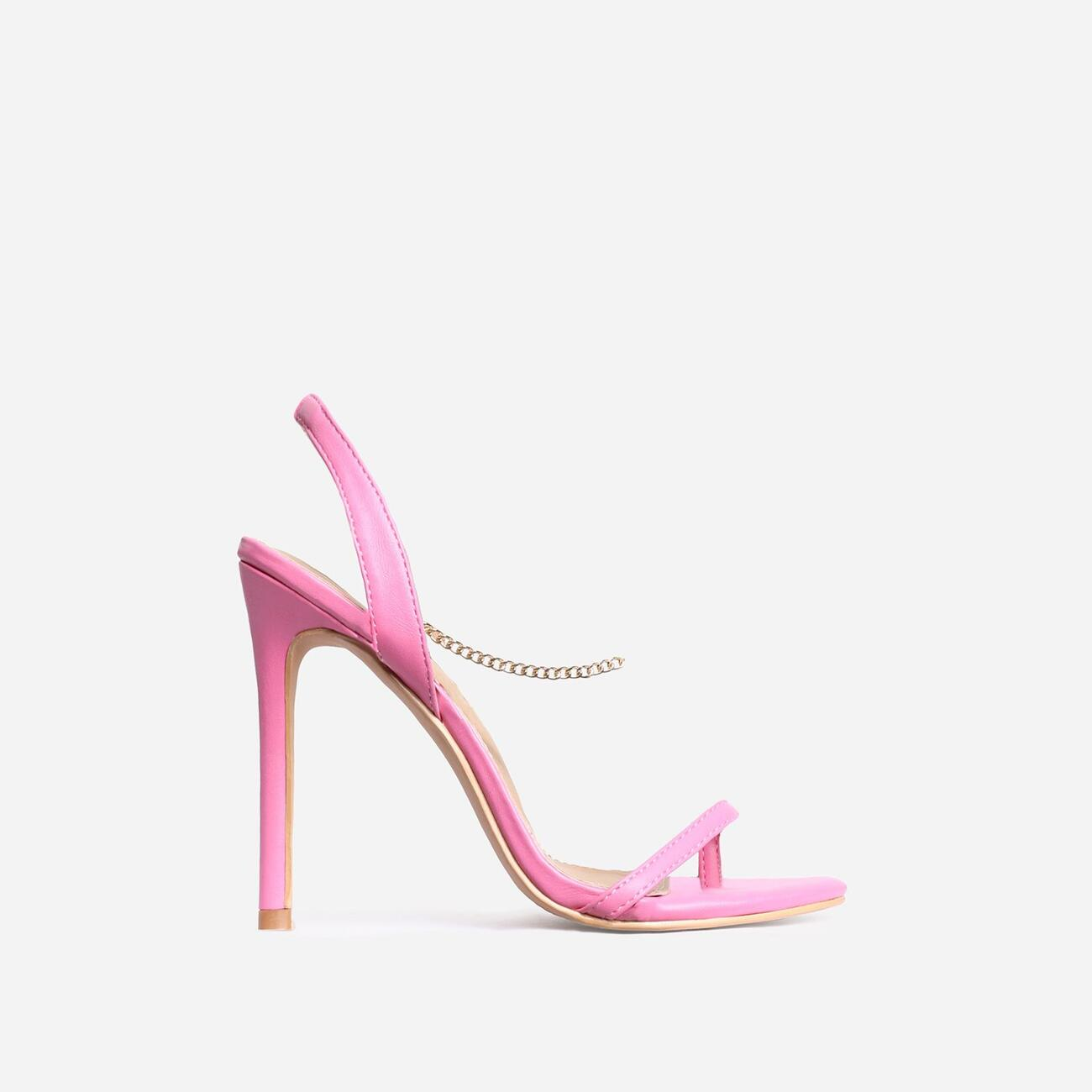 Peachy Chain Detail Sling Back Heel In Pink Faux Leather Image 1