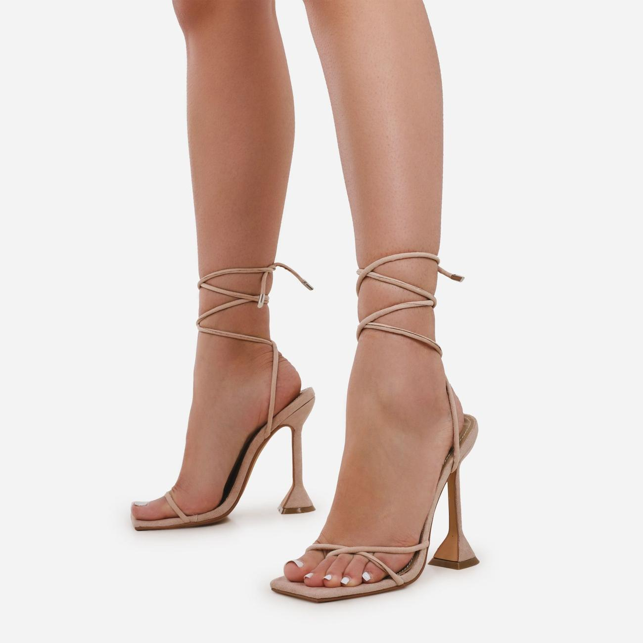 Emily Square Toe Lace Up Pyramid Heel In Nude Faux Suede Image 2