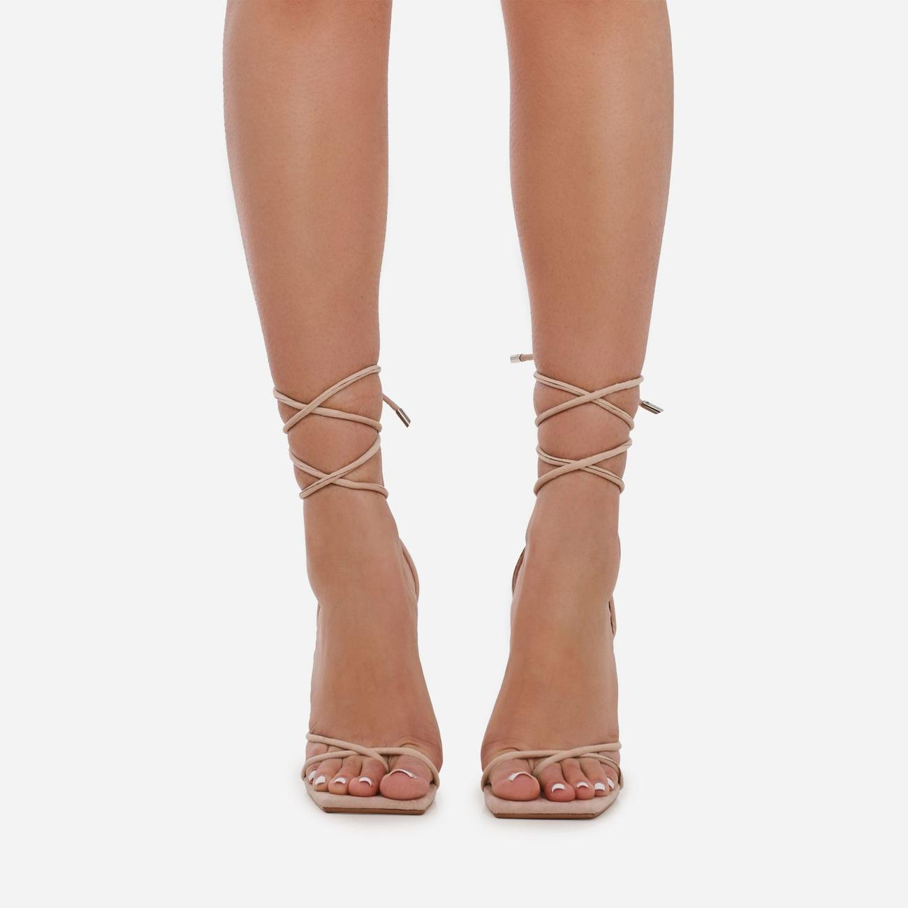Emily Square Toe Lace Up Pyramid Heel In Nude Faux Suede Image 3