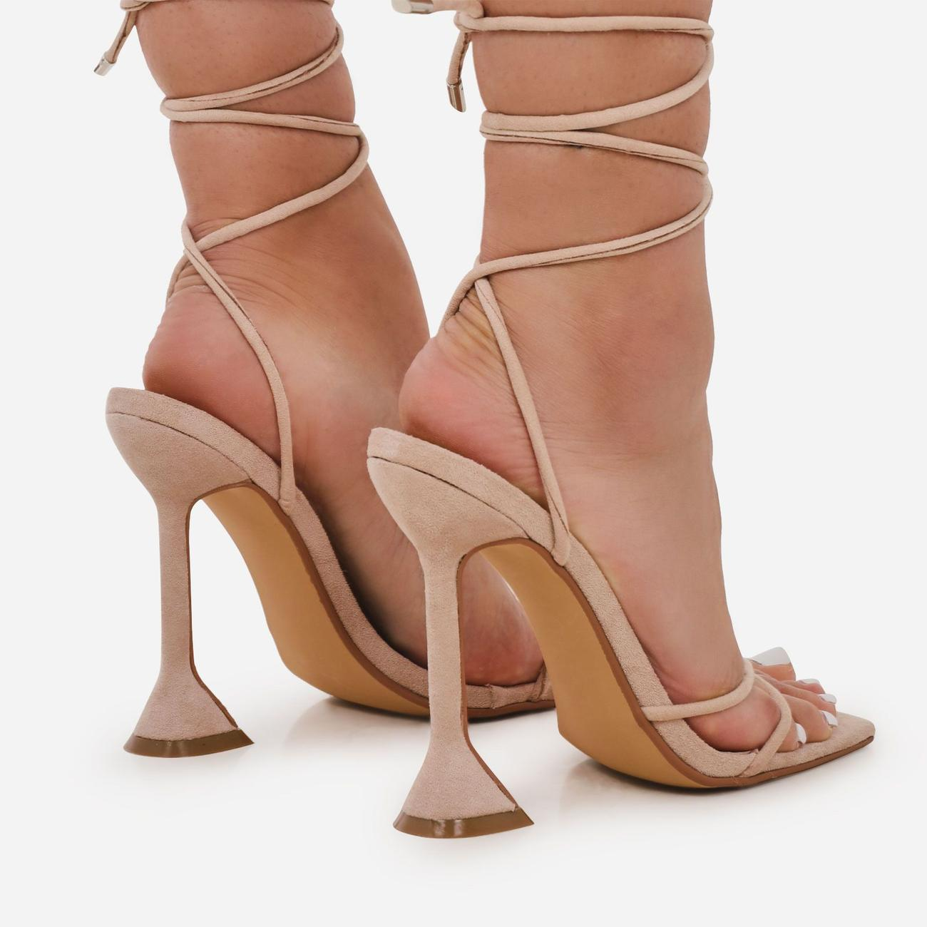 Emily Square Toe Lace Up Pyramid Heel In Nude Faux Suede Image 5
