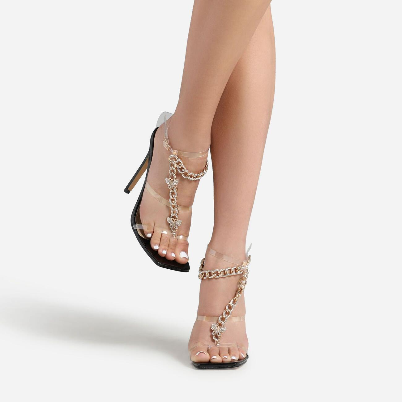 Cabana Diamante Gem Chain Detail Square Toe Heel In Black Patent Image 1