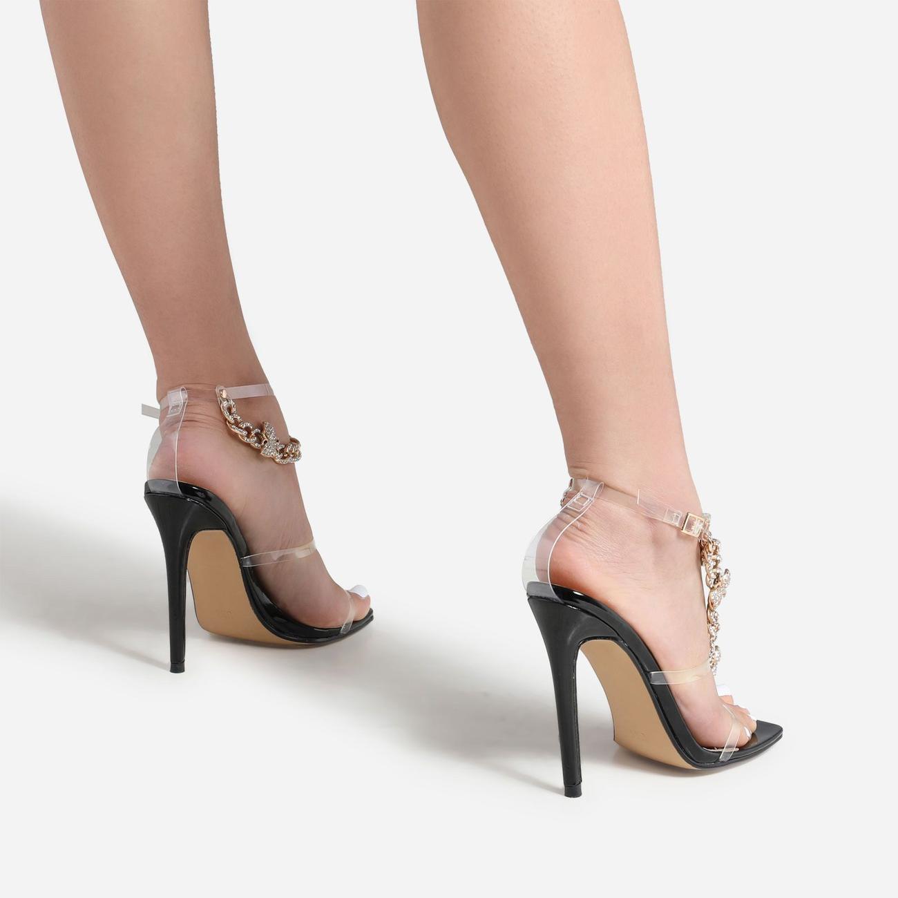 Cabana Diamante Gem Chain Detail Square Toe Heel In Black Patent Image 3
