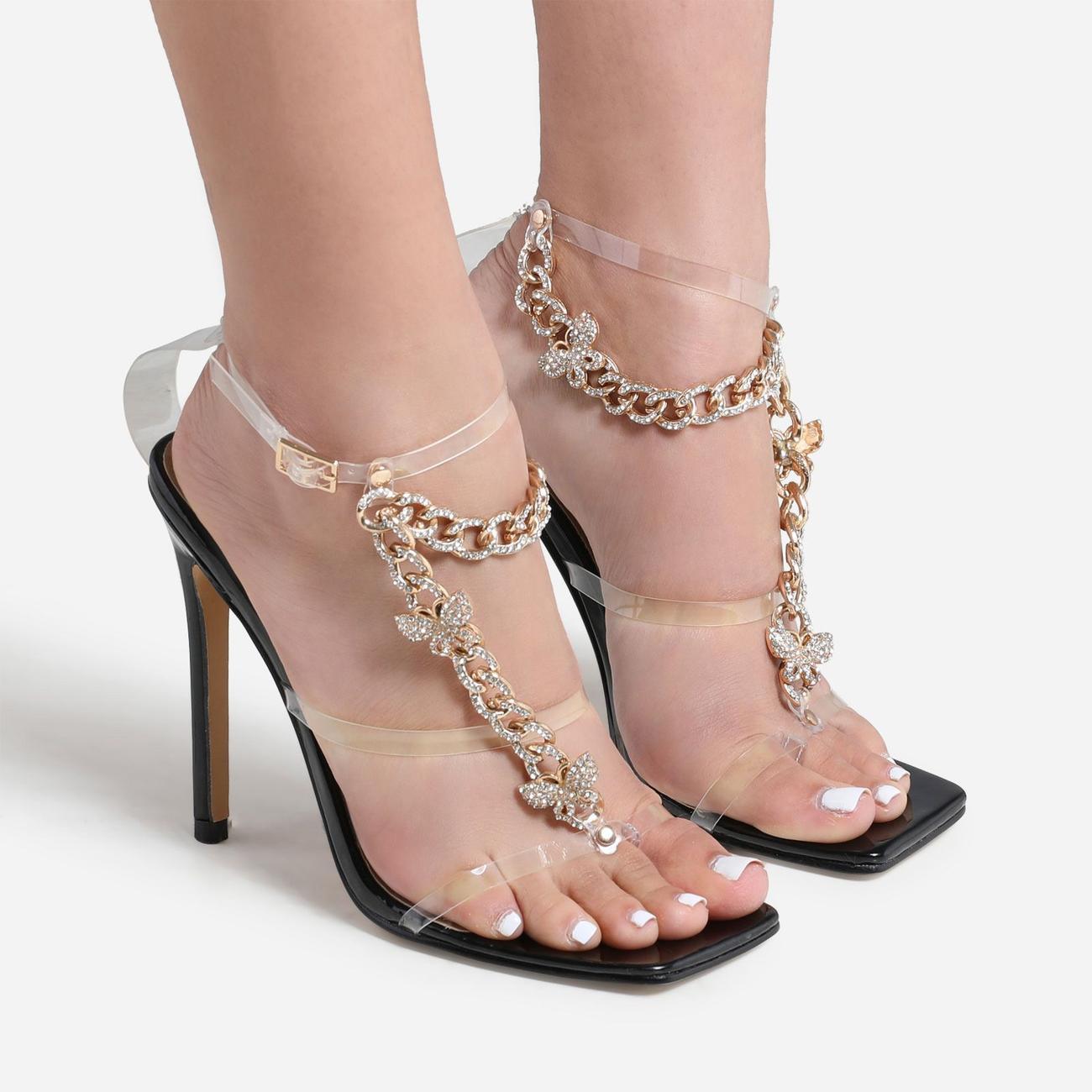 Cabana Diamante Gem Chain Detail Square Toe Heel In Black Patent Image 2