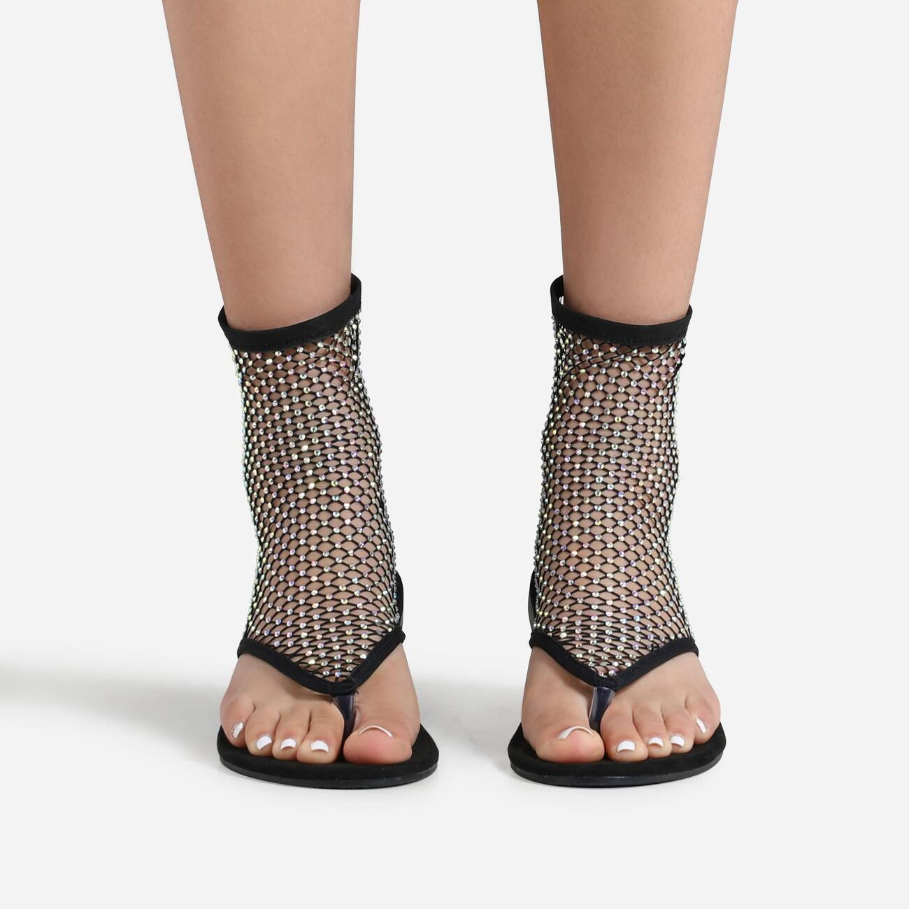 Glide Diamante Detail Ankle Flat Sandal In Black Fishnet Image 2