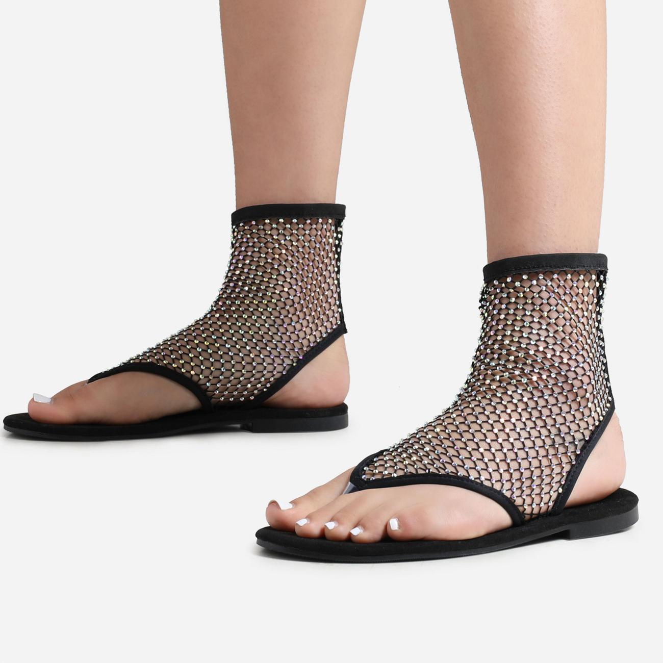 Glide Diamante Detail Ankle Flat Sandal In Black Fishnet Image 3