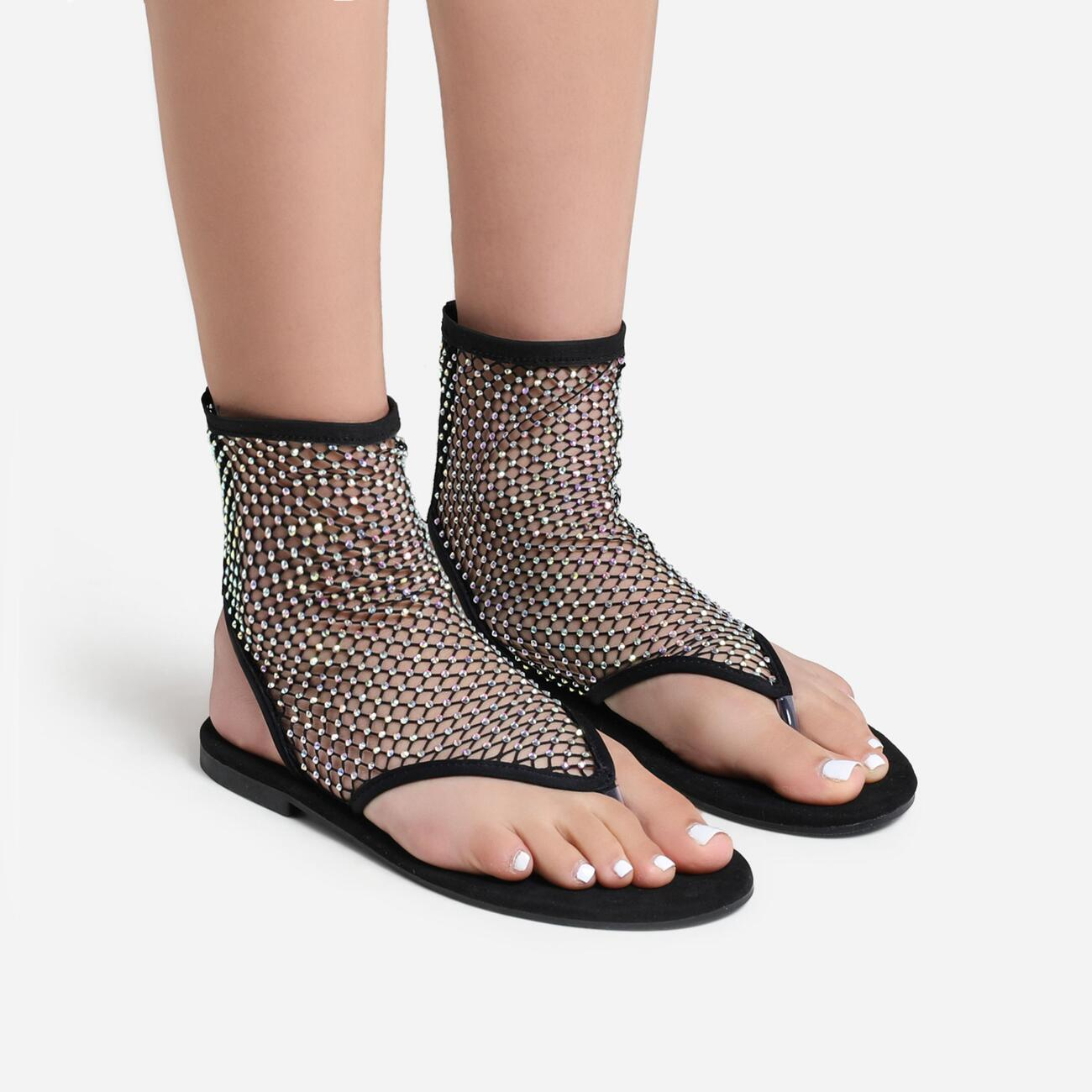 Glide Diamante Detail Ankle Flat Sandal In Black Fishnet Image 1