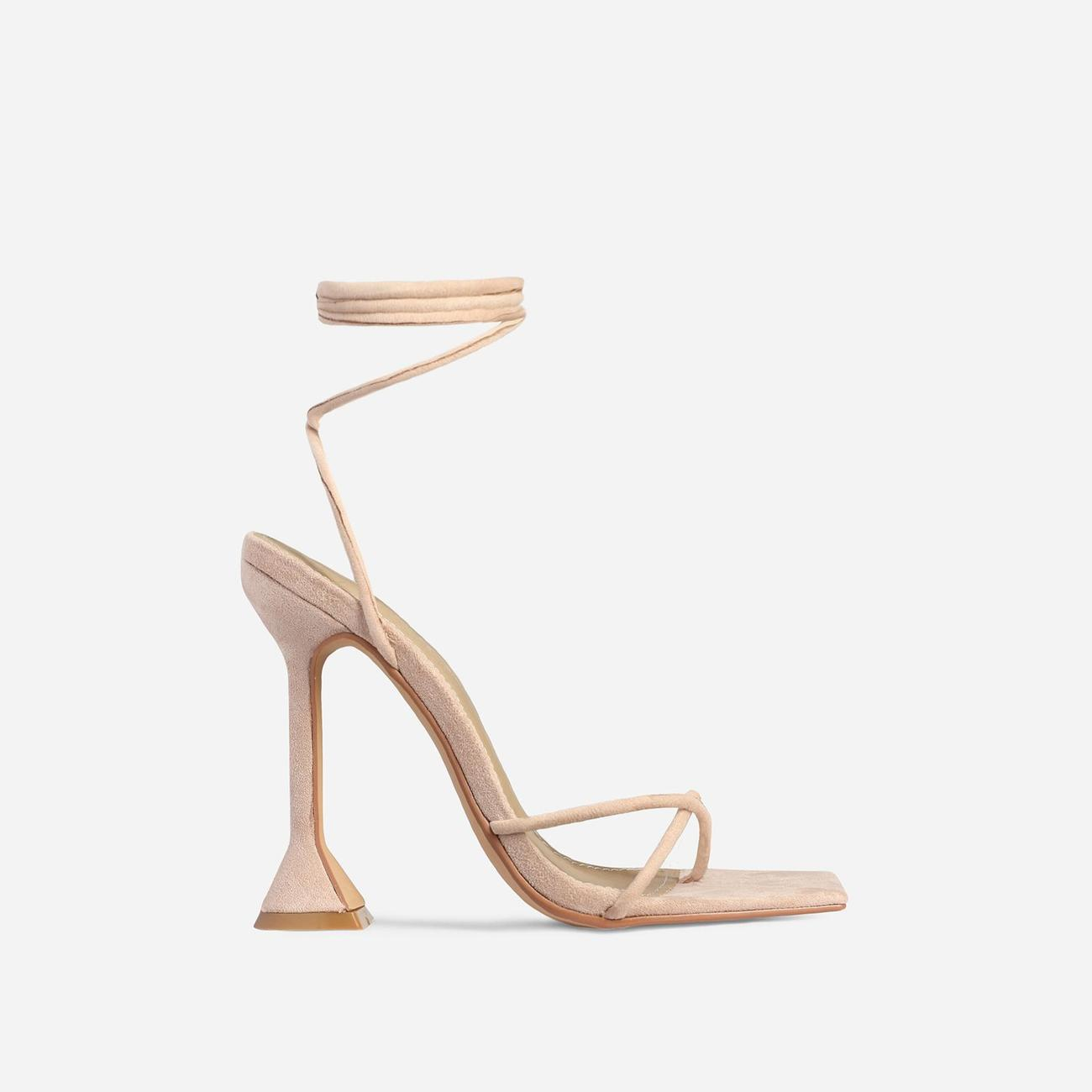 Emily Square Toe Lace Up Pyramid Heel In Nude Faux Suede Image 1