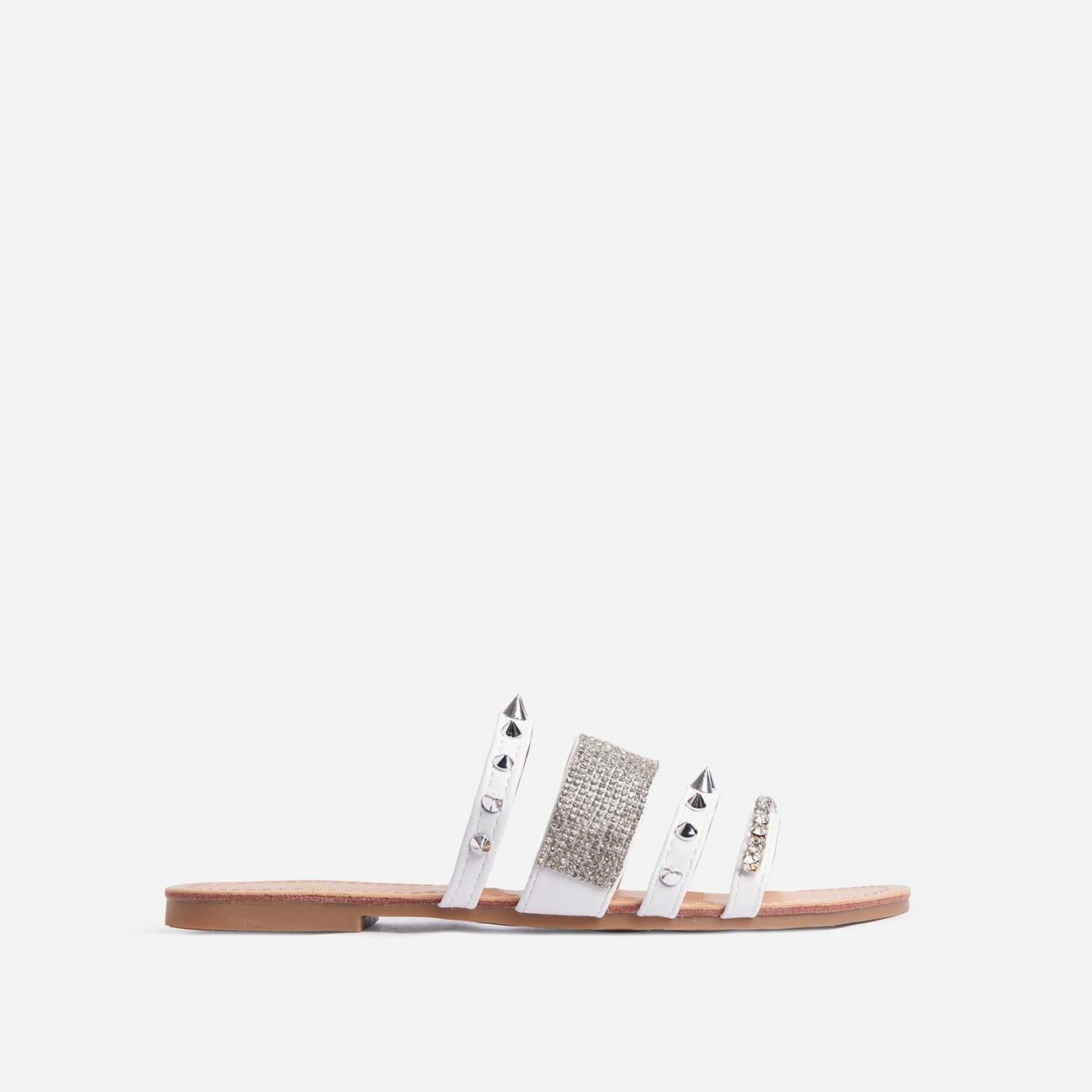 Warrior Studded Diamante Detail Flat Slider Sandal In White Faux Leather Image 1