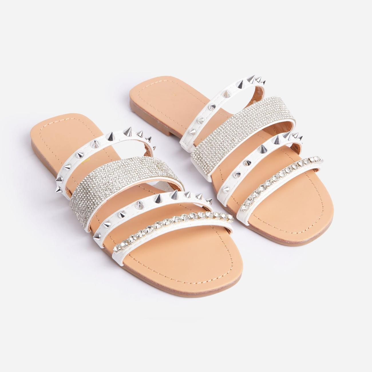 Warrior Studded Diamante Detail Flat Slider Sandal In White Faux Leather Image 2