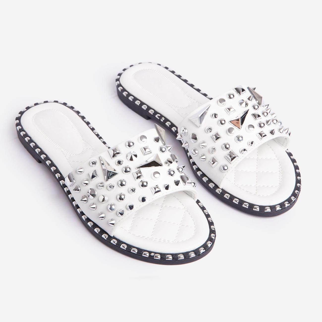 Save 50% on Joshua Studded Detail Flat Slider Sandal In White Faux Leather - Was £24.99, Now £12.49