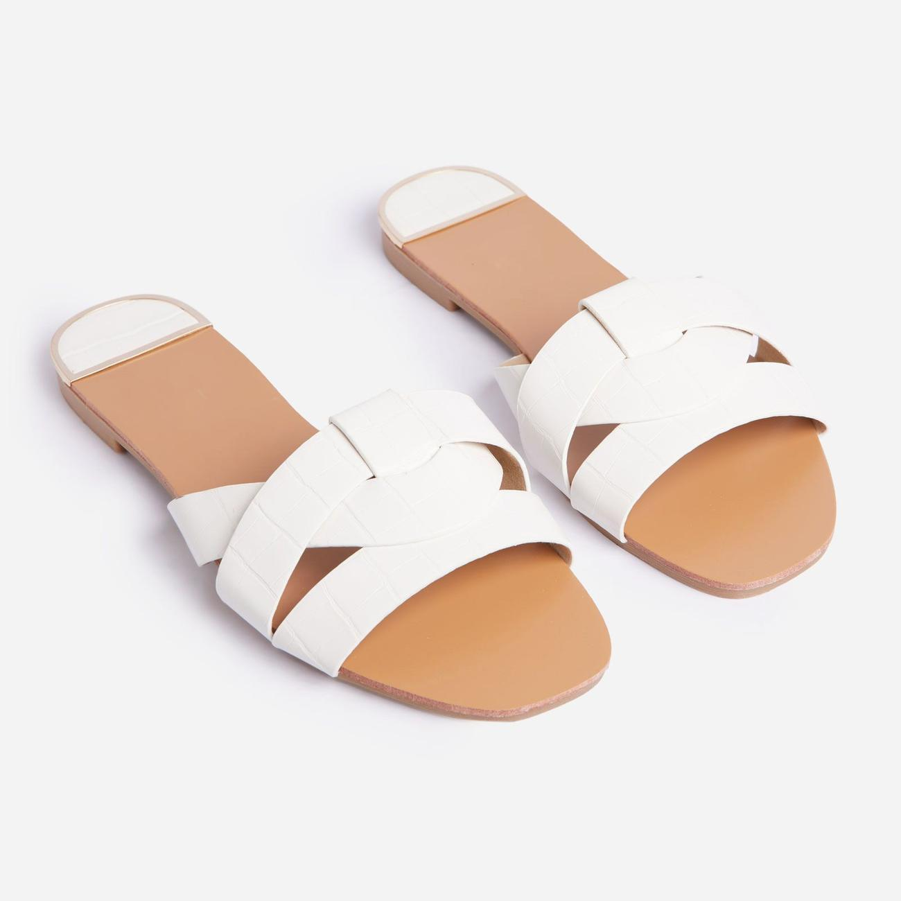 50% Off Gregor Flat Slider Sandal In White Croc Print Faux Leather - Was £19.99, Now £9.99