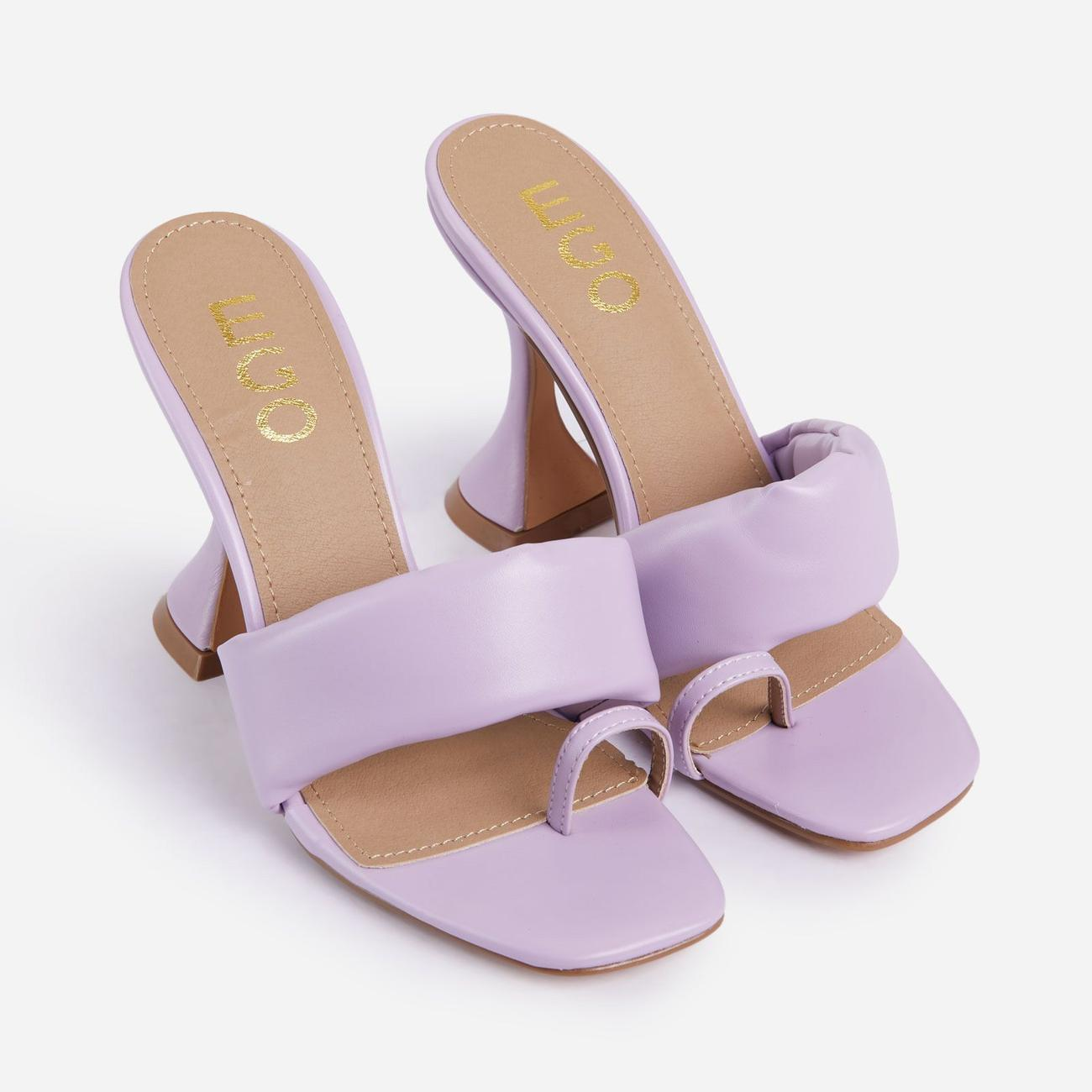 You-Wish Square Toe Padded Pyramid Heel Mule In Lilac Faux Leather Image 2