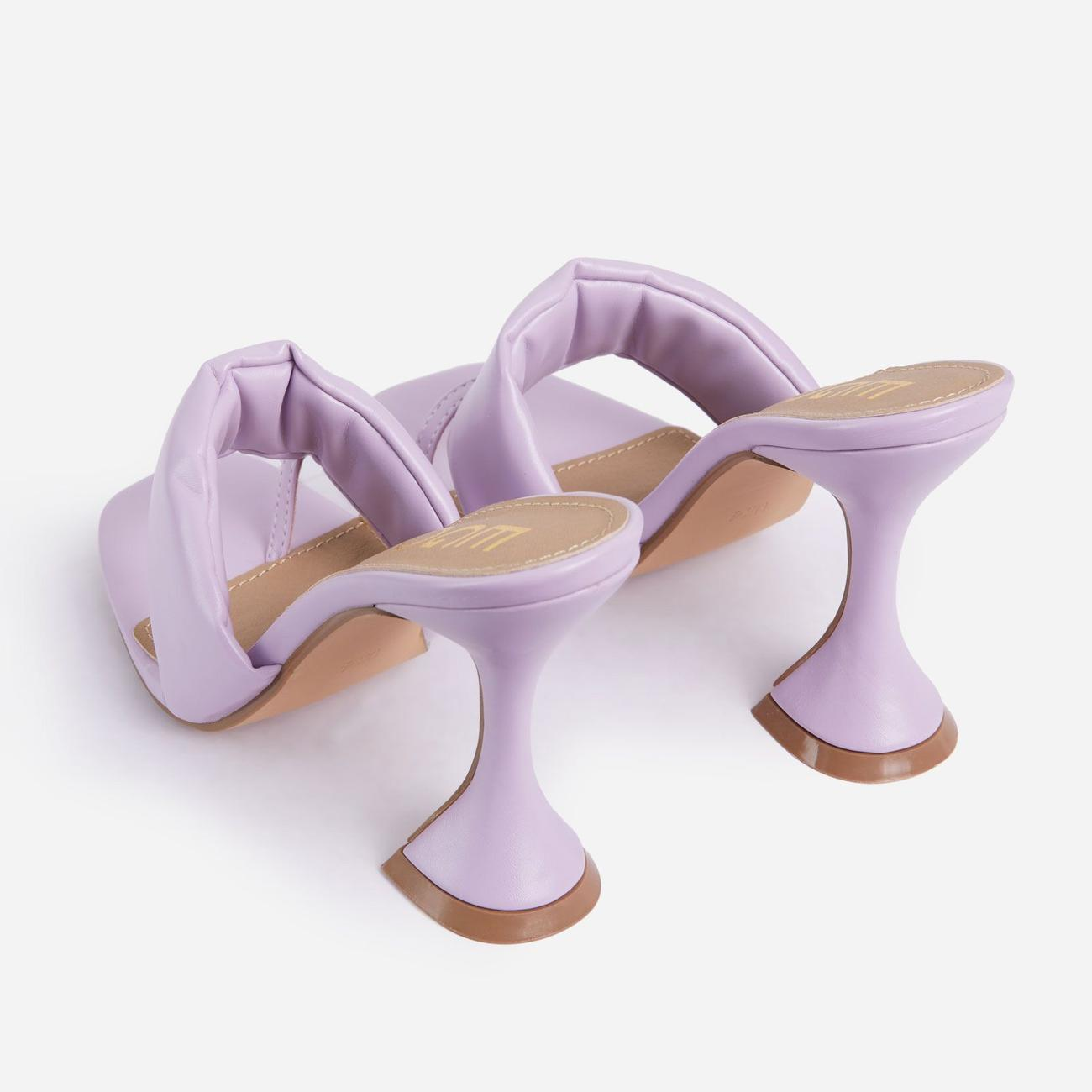 You-Wish Square Toe Padded Pyramid Heel Mule In Lilac Faux Leather Image 3