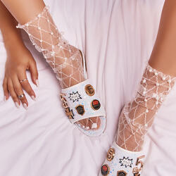 Pearl Detail Socks in White Fishnet Mesh