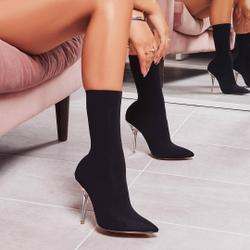Doll Clear Perspex Heel Ankle Sock Boot In Black