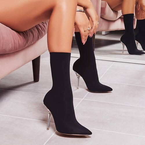 Doll Clear Perspex Heel Ankle Sock Boot In Black