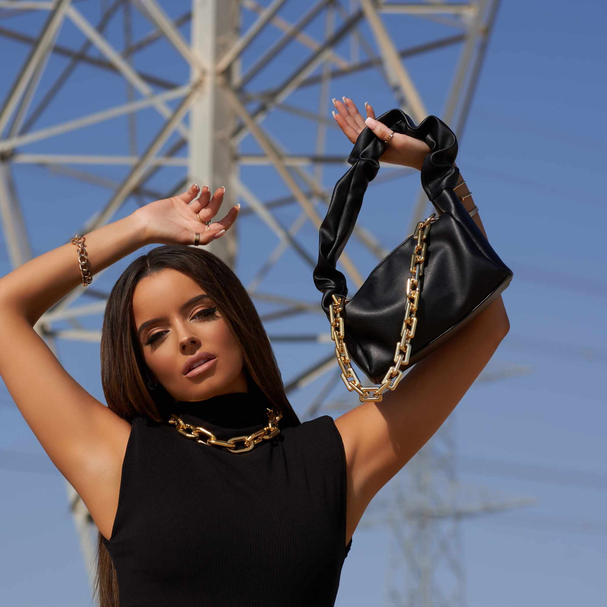 Gurl Chain Detail Ruched Handled Grab Bag In Black Faux Leather