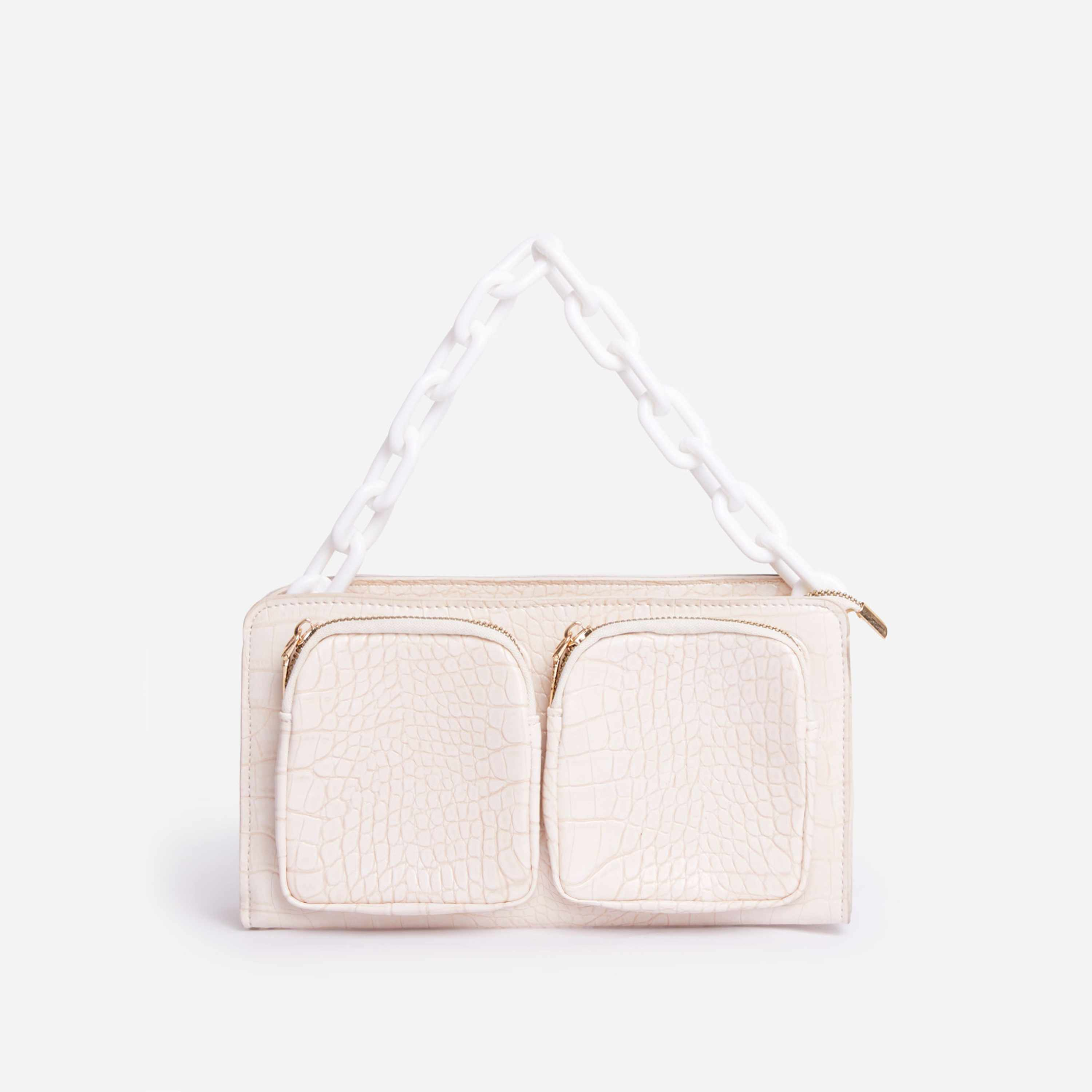 Crown Chain Detail Multi Pocket Bag In White Faux Leather