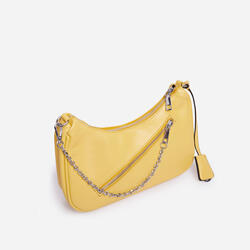 Major Pocket Detail Curved Cross Body Bag in Yellow Faux Leather
