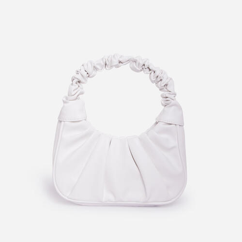Vera Ruched Shoulder Bag In White Faux Leather