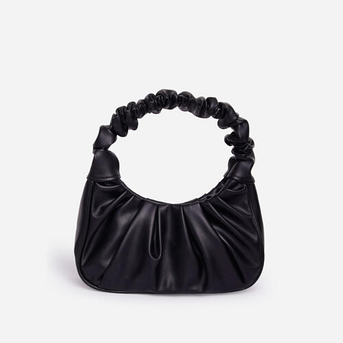 Vera Ruched Shoulder Bag In Black Faux Leather