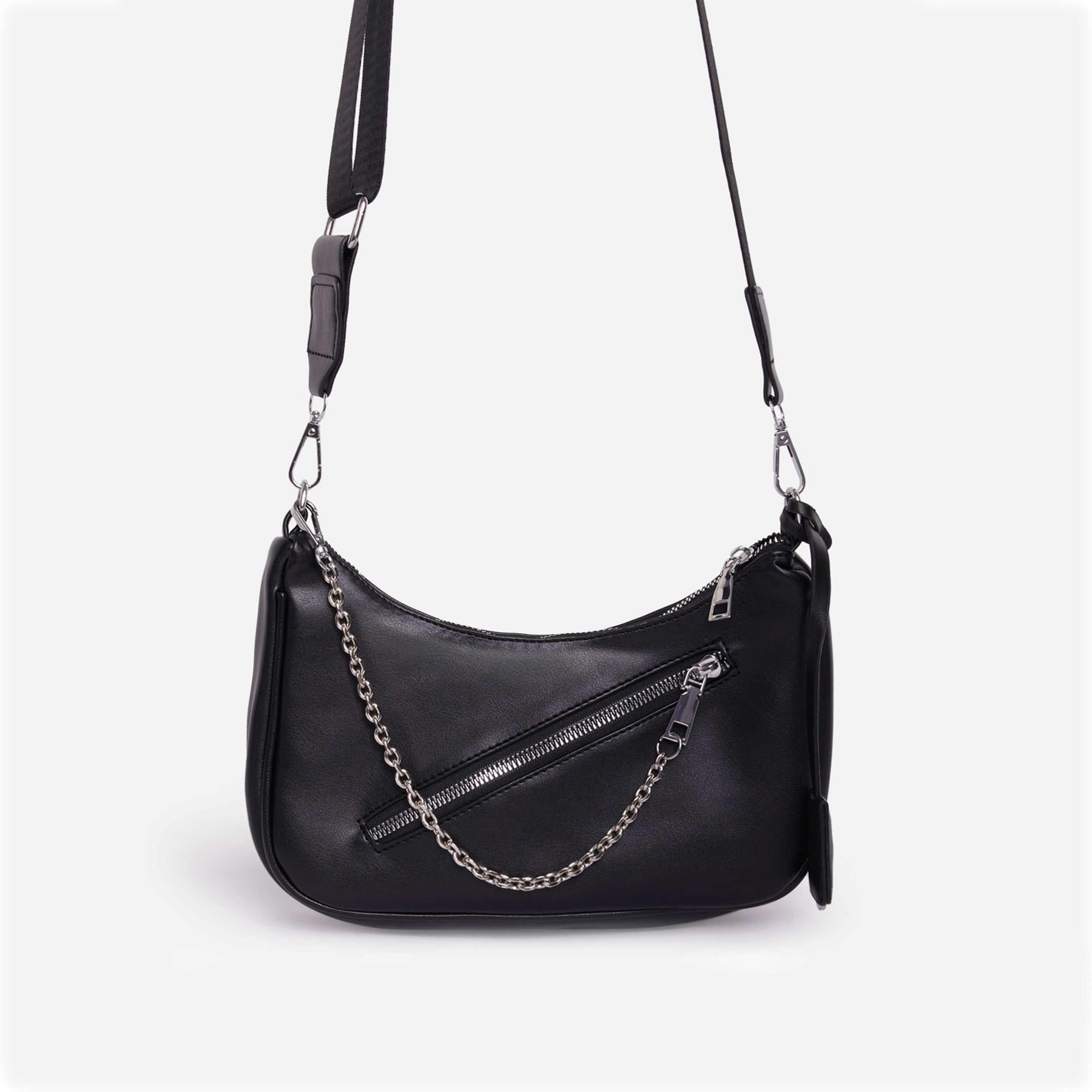 Major Pocket Detail Curved Cross Body Bag in Black Faux Leather