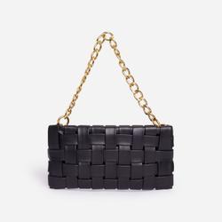 Blogger Woven Shoulder Bag In Black Faux Leather