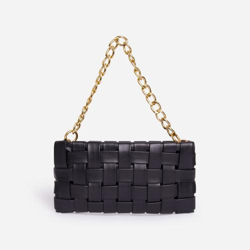 Blogger Woven Shoulder Bag In Black Faux Leather
