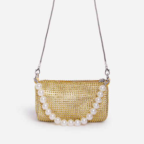 Alana Pearl Detail Baguette Bag In Gold