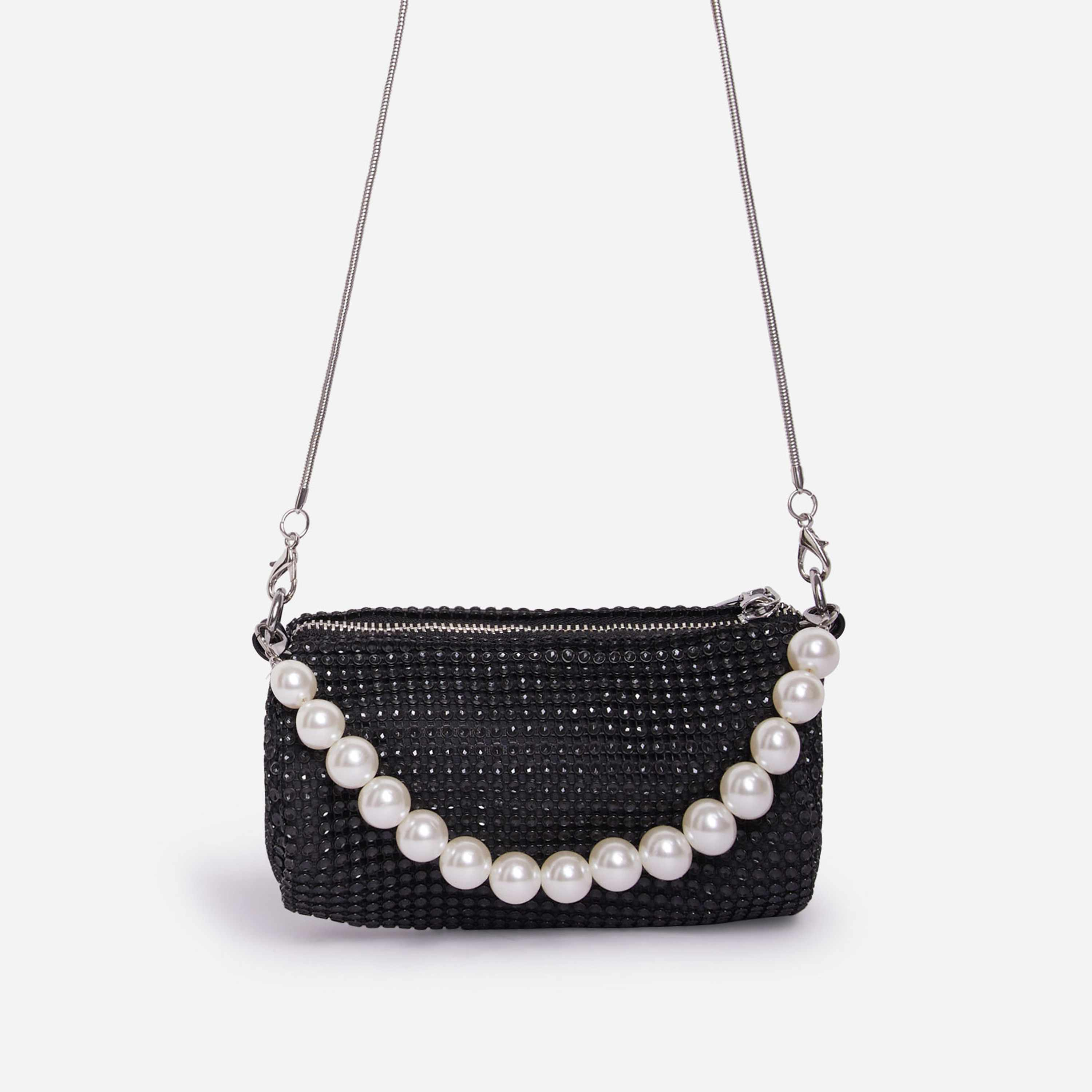 Alana Pearl Detail Baguette Bag In Black